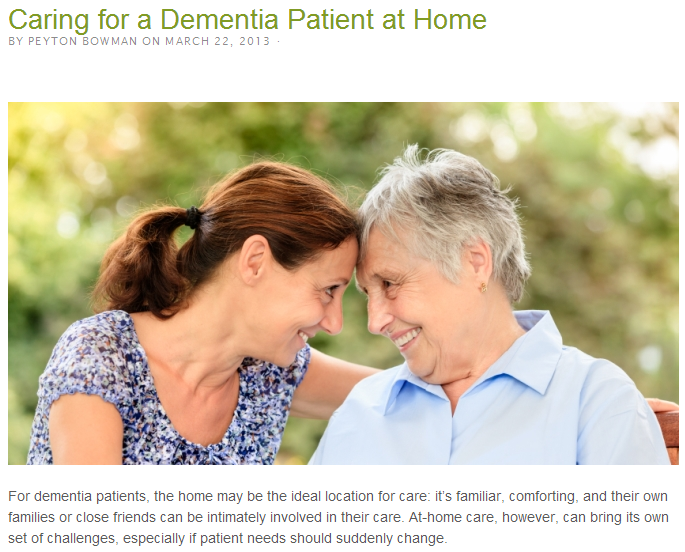 caring for a dementia patient at home