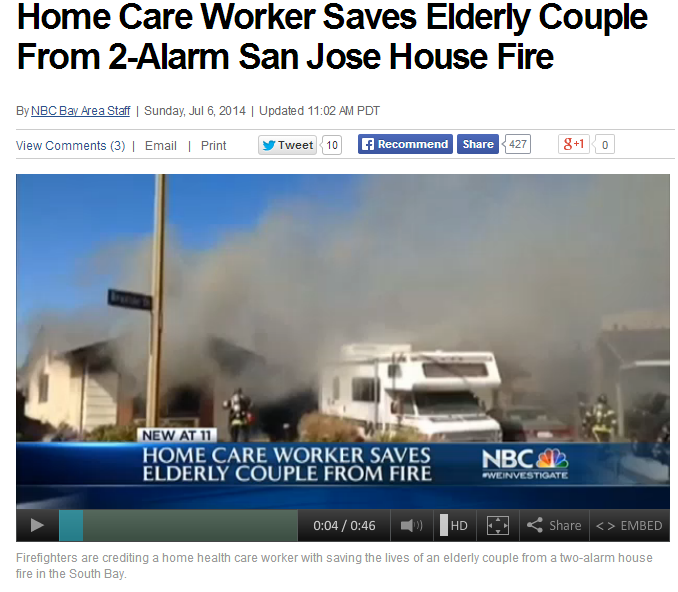 home care worker saves elderly couple from 2-alarm san jose house fire