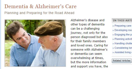 Dementia and Alzeimer's Care