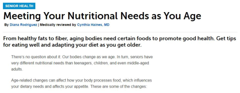 Meeting Your Nutritional Needs as You Age